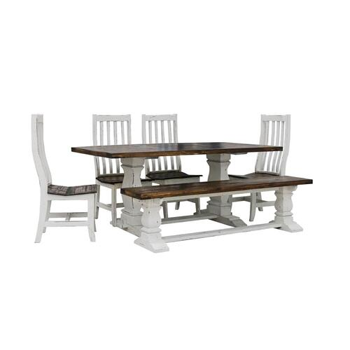 RUSTIC IMPORTS HO-MES 2-HO-SIL 6- HO-BAN17 6-Piece Santa Rita Rustic Antique White Dining Table, 4 Chairs & Bench