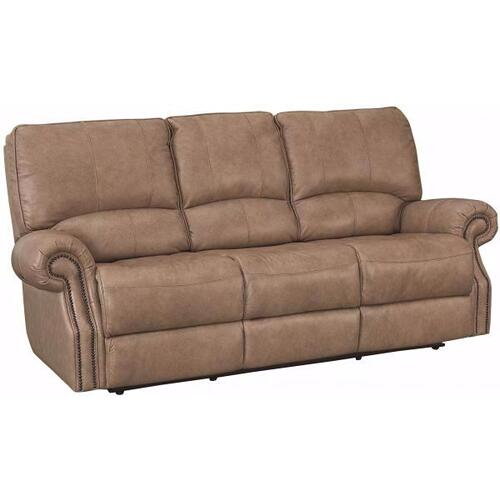 Bassett Furniture - Club Level Prescott Power Sofa in Wheat Colored Leather