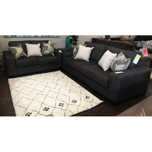 Intermountain Furniture - Charcoal Loveseat With Accent Pillows