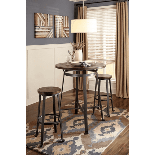 Challiman - Rustic Brown - 3 Pc. - Round Bar Table & 2 Tall Stools