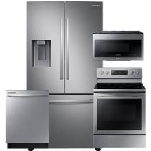 See Details - SAMSUNG 27 cu. ft. Large Capacity 3-Door French Door Refrigerator with External Water & Ice Dispenser 4 Pc Package- Open Box