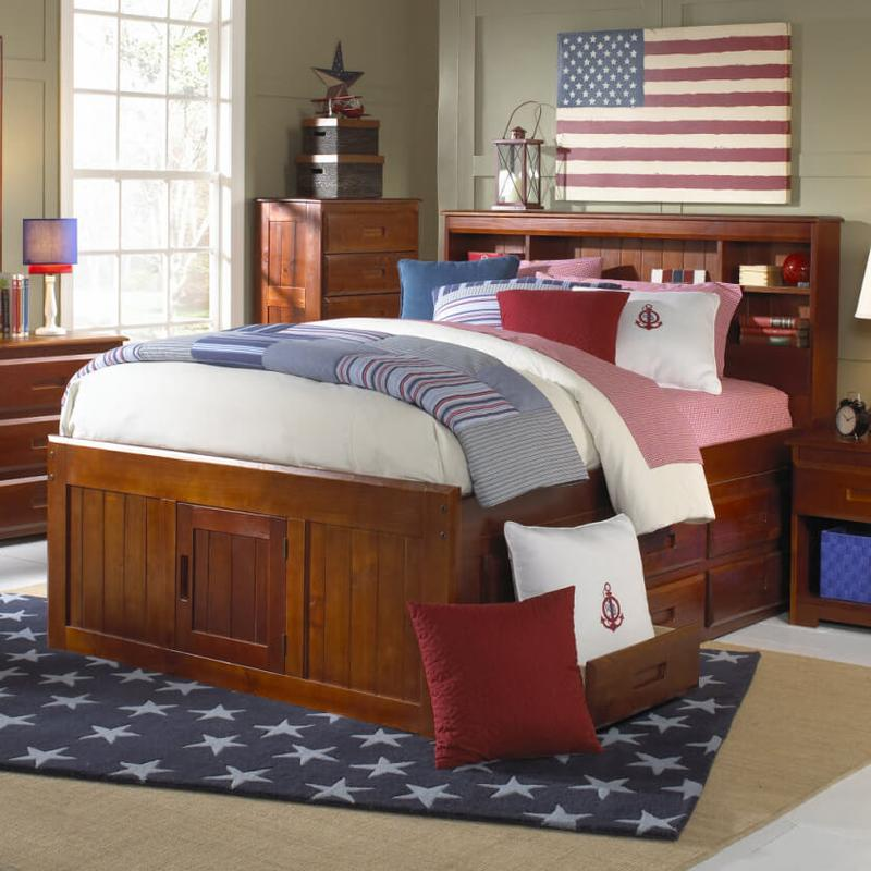 View Product - Captain's Bed with 6 Drawers - Merlot