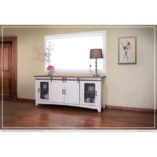 """80"""" Pueblo TV Stand w/ 4 doors & Shelves White"""