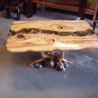 River Rock Coffee Table With Root Base