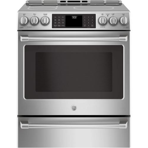 GE Cafe 4.2CF Stainless Steel Induction Slide In Convection Range with Steam/Self Clean