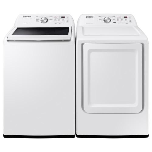 Packages - Samsung 4.5 cu. ft. Capacity White Top Load Washing Machine with Vibration Reduction Technology , and 7.2 cu. ft. 240-Volt White Electric Dryer with Sensor Dry in White