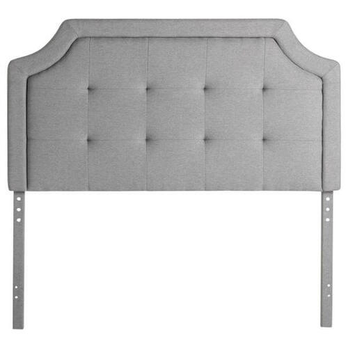 QUEEN SCOOPED SQUARE TUFTED UPHOLSTERED HEADBOARD STONE