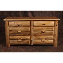 White Cedar Log 6 Drawer Dresser