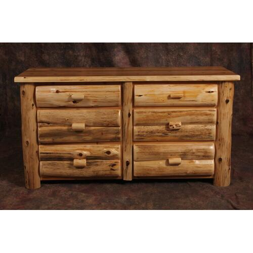 Cozy Creations Collection - White Cedar Log 6 Drawer Dresser