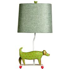 Mini Iron Dog Lamp, (Green Dog, Green Shade)