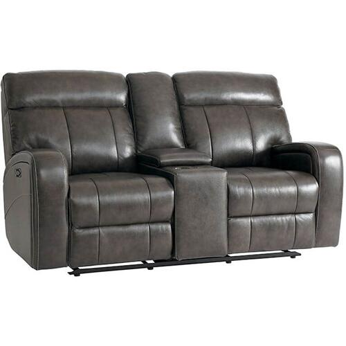 Beaumont Motion Loveseat w/ Power & Console in Truffle