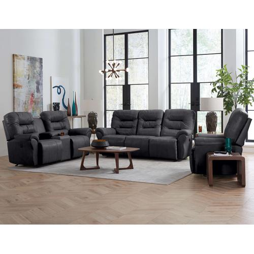 Unity Rocking Reclining Leather Console Loveseat (Steel)