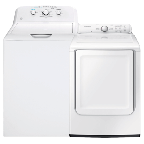 4.2 cu. ft. Top Mount Washer with Stainless Steel Basket & 7.2 cu. ft. Electric Dryer with Moisture Sensor- Minor Case Imperfections