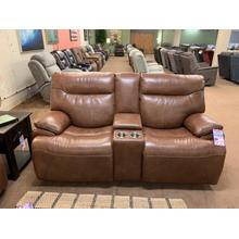 Saddle Power Reclining Loveseat with Console & Power Headrests