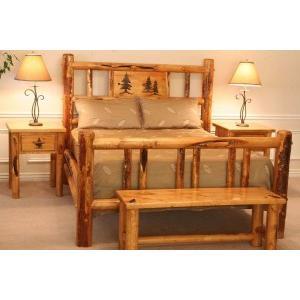 Rustic Ponderosa Pine Log Complete Bed With Custom Engraving On Headboard