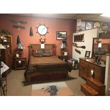 View Product - Woodworks crafstman bedroom. Meduim finish on character cherry. Queen bed, 2 night stands, dresser, mirror, and chest. Made in America.