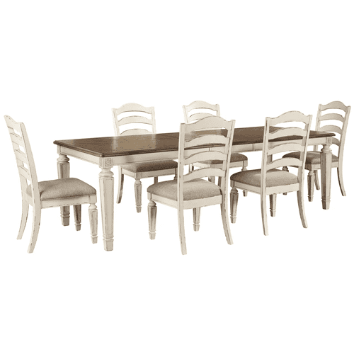 Realyn - 7 Pc. - Dining Room Set: Rectangular Table with Leaf and 6 Ladderback Side Chairs