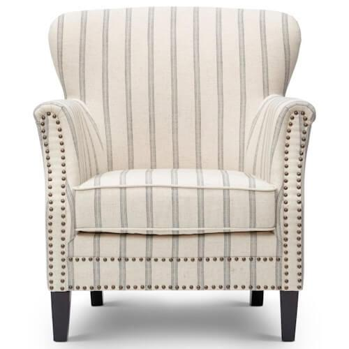 Grey and Beige Striped Accent chair