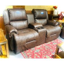 See Details - GENET LEATHER Power Rocking Console Reclining Loveseat in Texas     (L960CY7-56986L,45027)