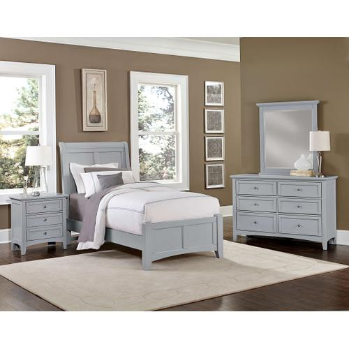 Twin Gray 4 PC Bedroom Set - Sleigh Bed