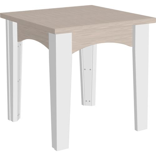Island End Table Premium Birch and White