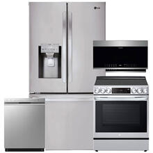 See Details - Stainless Steel Smart wi-fi Enabled 28 cu.ft. French Door Refrigerator & 6.3 cu. ft. InstaView Electric Slide-In Range with Air Fry- 4 Pc Package