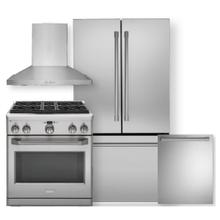"""See Details - MONOGRAM 23.1 Cu. Ft. Counter-Depth French-Door Refrigerator & 30"""" All Gas Professional Range w/ 4 Burners - 4 Piece Package"""