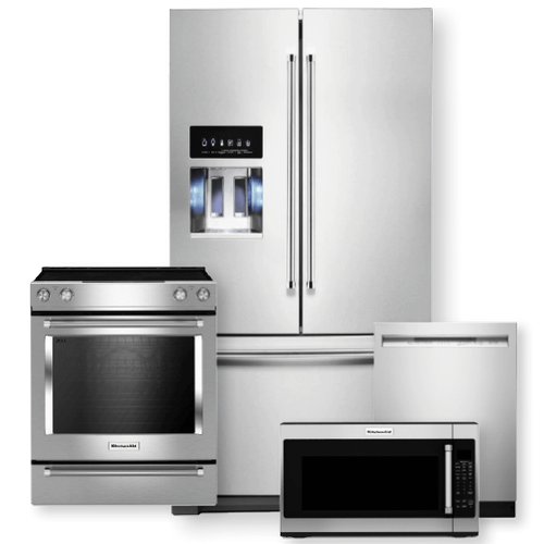 KITCHENAID 36-Inch Width Standard Depth French Door Refrigerator & 30-Inch Electric Slide-In Convection Range Package- Minor Case Imperfections