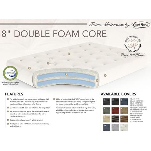 "Gold Bond - 8"" Cotton Double Foam Core Futon Mattress"