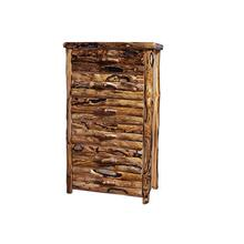 6 Drawer Log Front Natural Panel Gnarly Log