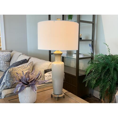 Ceramic Grey Table Lamp with Drum Shade