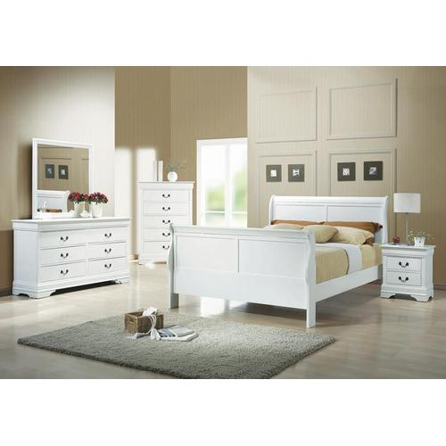 Qn White Louis Philippe Bed, Dresser, Mirror and Nightstand