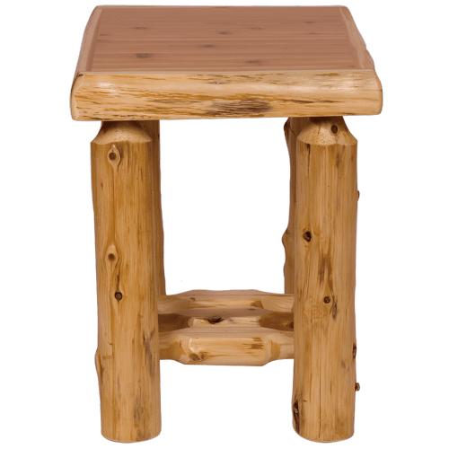 Cedar Log Open Nightstand