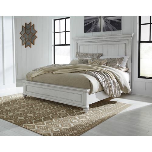 Kanwyn Cal King Panel Bed Whitewash