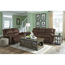 Goodlow- Chocolate Power Reclining Sofa and Loveseat w/ Adjustable Headrest