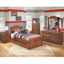 Barchan- Medium Brown- Dresser, Mirror, Chest, Nightstand & Twin Panel with Trundle Bed