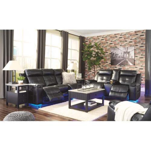 Ashley 821 Kempten Black Reclining Sofa and Love