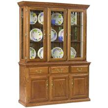 "60"" Hutch w/ 3 Full Doors, V-Groove Glass Touch Light, Felt Lined Drawers"