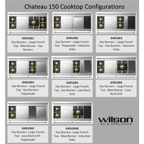 Chateau 150 (KH) - 2-Gas Burners - 1-French Plaque  - 1-Lava-Rock Grill - 1-Teppanyaki