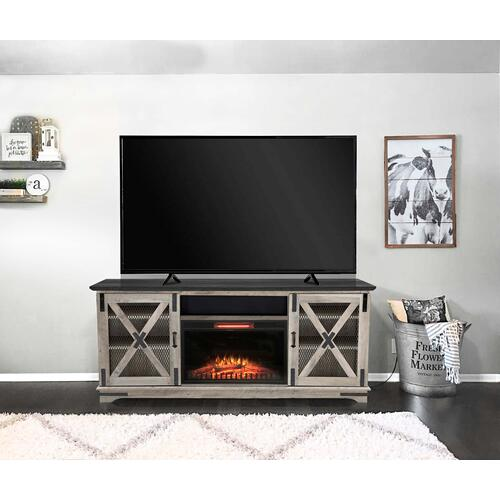 "Denver 73"" TV Stand with Fireplace & Speaker - Taupe Oak"