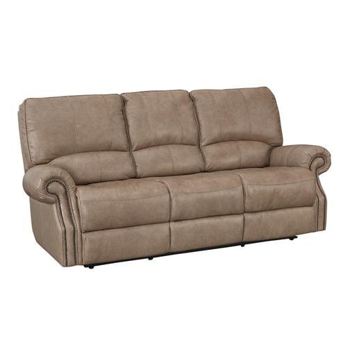Bassett Furniture - Prescott Wheat Leather Power Reclining Sofa with Power Tilt Headrests