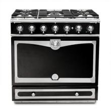 90cm CornueFe Dual Fuel Range in Gloss w/ Chrome Trim