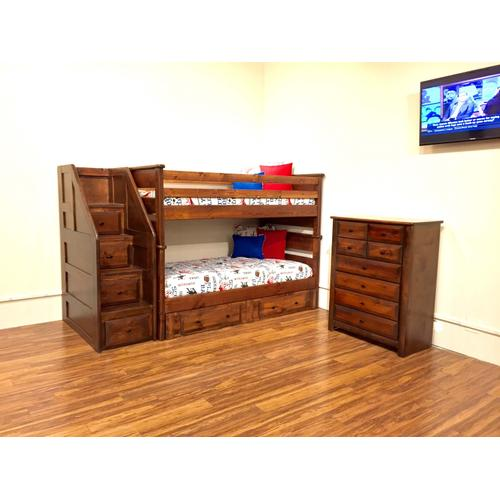 Twin/Twin Laguna Staircase Bunk Bed American Chestnut Finish