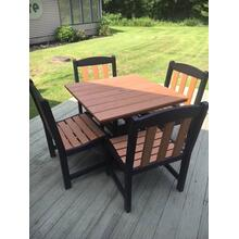 "36"" square outdoor dining set w/ 4 side chairs. American made. Lifetime warranty."