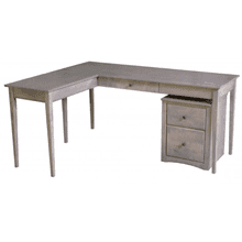 Large L-Desk with Left Return and Mobile File Cabinet - Driftwood Finish