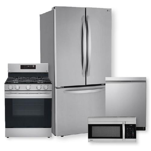 25 cu. ft. French Door Refrigerator & 5.8 cu ft. Smart Wi-Fi Enabled Fan Convection Gas Range  Package