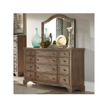 Stately Wood Dresser And Mirror
