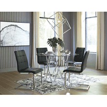 Madanere - Chrome Finish - 5 Pc. - Round Table & 4 Black Side Chairs