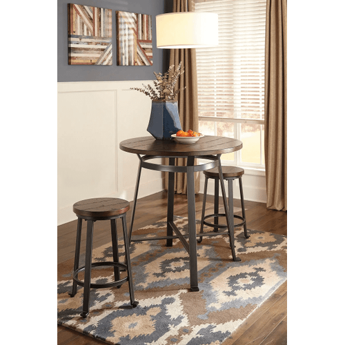 Challiman - Rustic Brown - 3 Pc. - Round Counter Table & 2 Barstools