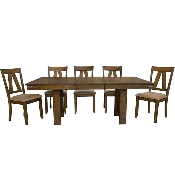 Eastwood 6 Piece Dining Set, Trestle Table and Padded Side Chairs